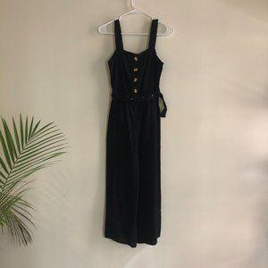 NASTY GAL Black Linen Belt Jumpsuit